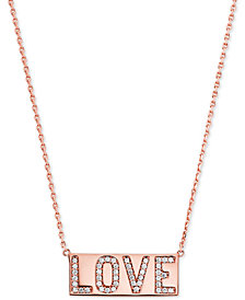 "Michael Kors Rose Gold-Tone Pavé Love Pendant Necklace, 16"" + 2"" extender"