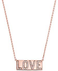 """Michael Kors Rose Gold-Tone Pavé Love Pendant Necklace, 16"""" + 2"""" extender"""