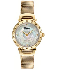 Women's Swiss Ferragamo Style Gold-Tone Stainless Steel Mesh Bracelet Watch 34mm