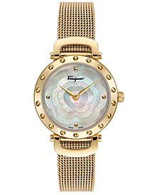 Ferragamo Women's Swiss Ferragamo Style Gold-Tone Stainless Steel Mesh Bracelet Watch 34mm