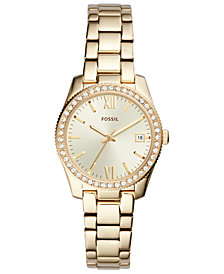 Fossil Women's Scarlette Gold-Tone Stainless Steel Bracelet Watch 32mm