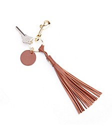 Leather Tassel Key Fob with Gold Hardware