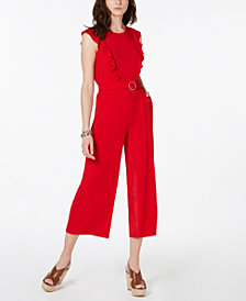 MICHAEL Michael Kors Ruffled Belted Jumpsuit, Regular & Petite