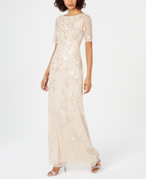 Adrianna Papell Shorts SHORT-SLEEVE BEADED GOWN