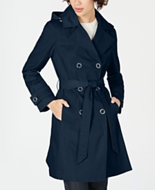 Anne Klein Double-Breasted Hooded Water Resistant Trench Coat