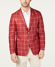 Men's UltraFlex Classic-Fit Windowpane Linen Sport Coat