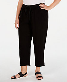 Eileen Fisher Plus Size Organic Cotton Drawstring Cropped Pants