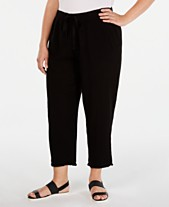 9affbc8768c Eileen Fisher Plus Size Organic Cotton Drawstring Cropped Pants