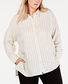 Eileen Fisher Plus Size Striped Button-Up Shirt