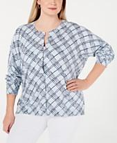 eb566c82d4c Karen Scott Plus Size Line-Print Cardigan