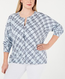 Karen Scott Plus Size Line-Print Cardigan, Created for Macy's