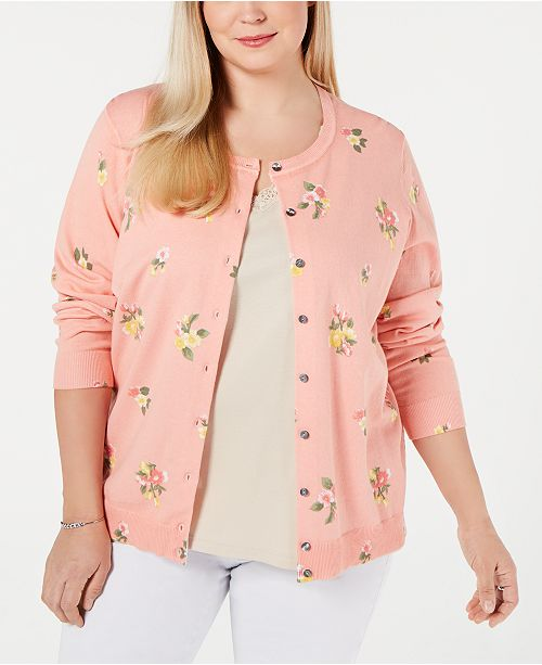 Karen Scott Plus Size Springtime Posy Cardigan, Created for Macy's