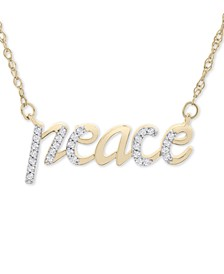 "Diamond Peace 17"" Pendant Necklace (1/10 ct. t.w.) in 14k Gold, Created for Macy's"