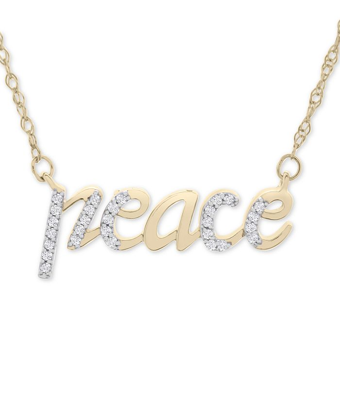 """Wrapped - Diamond Peace 17"""" Pendant Necklace (1/10 ct. t.w.) in 14k Gold"""