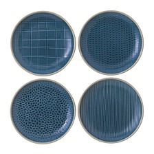 Royal Doulton Exclusively for Maze Grill Mixed Blue Plates, Set of 4