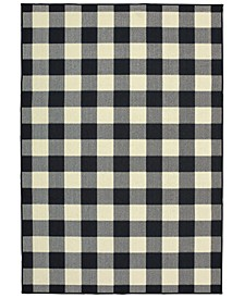 "Marina 1932K Black/Ivory 7'10"" x 10'10"" Indoor/Outdoor Area Rug"