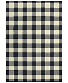 "Oriental Weavers Marina 1932K Black/Ivory 3'7"" x 5'6"" Indoor/Outdoor Area Rug"