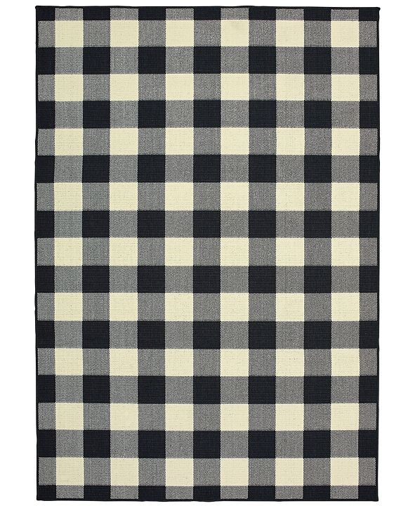 """Oriental Weavers Marina 1932K Black/Ivory 8'6"""" x 13' Indoor/Outdoor Area Rug"""