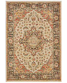 "Oriental Weavers Toscana 9551A Ivory/Orange 2'3"" x 7'6"" Runner Area Rug"