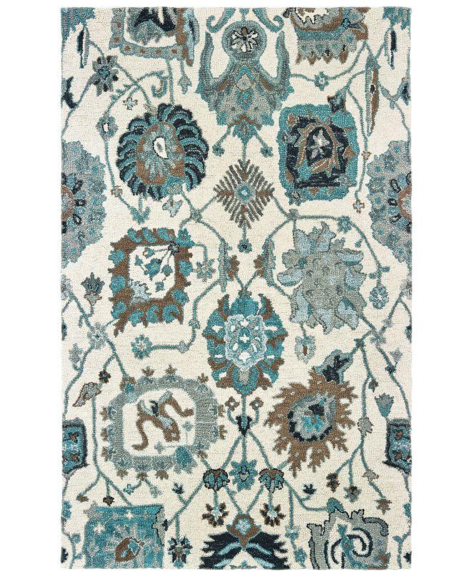 "Oriental Weavers Zahra 75503 Ivory/Blue 3'6"" x 5'6"" Area Rug"