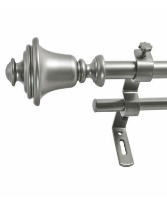 Montevilla 5/8-Inch Bell Double Telescoping Curtain Rod Set, 26 to 48-Inch, Dark Nickel