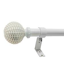 Decopolitan 1-Inch Woven Ball Telescoping Curtain Rod Set, 42-120, Antique White