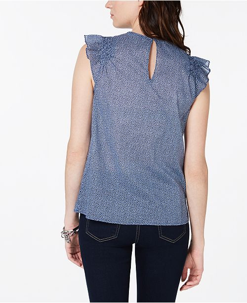 Michael Kors Cotton Garden Bud Ruffle Top - Tops - Women - Macy s 8deedbda3
