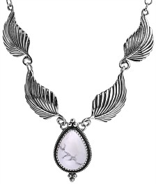 American West Magnesite Leaf Statement Necklace in Sterling Silver