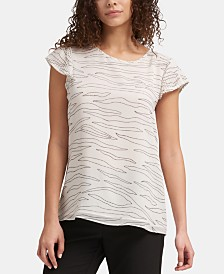 DKNY Printed Pleated-Cap Sleeve Top