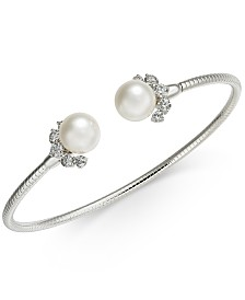 Eliot Danori Crystal & Imitation Pearl Cuff Bracelet, Created for Macy's