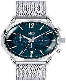 Henry London Knightsbridge Gents 41mm Silver Stainless Steel Mesh Bracelet Strap Watch with Stainless Steel Silver Casing