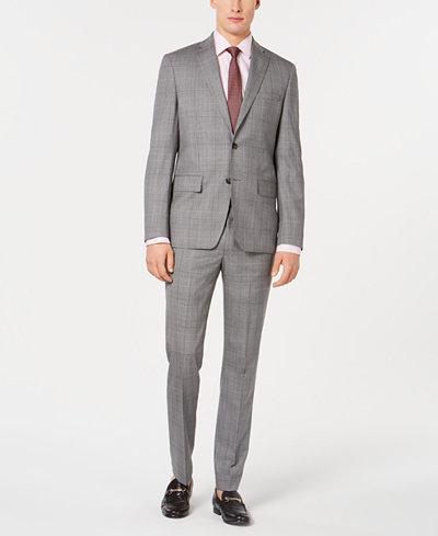 DKNY Men's Modern-Fit Plaid Suit Separates