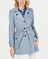 London Fog Hooded Water Repellent Trench Coat