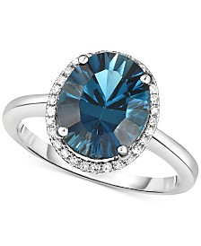 London Blue Topaz (3-1/2 ct. t.w.) & Diamond (1/8 ct. t.w.) Statement Ring in 14k White Gold