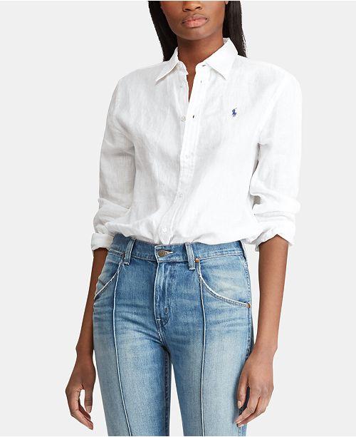 12687597e5f Polo Ralph Lauren Relaxed Fit Linen Shirt   Reviews - Tops - Women ...