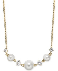 "Eliot Danori Crystal & Imitation Pearl Statement Necklace, 16"" + 1"" extender, Created for Macy's"