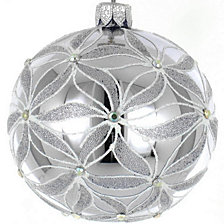 "Silver and White 4 Pc Set of Mouth Blown & Hand Decorated European 3.25"" Round Holiday Ornaments"