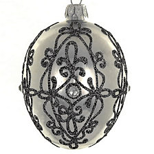 "Shiny Graphite Mouth Blown & Hand Decorated European 4"" Egg Shape Holiday Ornament"