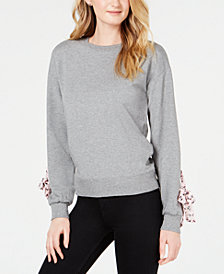 Maison Jules Contrast Tie-Sleeve Sweatershirt, Created for Macy's