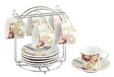 Lorren Home Trends Set of 6 Espresso Cups On Metal Stand