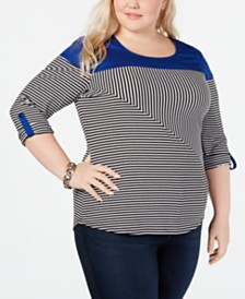 NY Collection Plus Size Colorblocked Striped Top