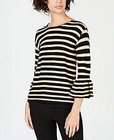 John Paul Richard Petite Striped Bell-Sleeve Top
