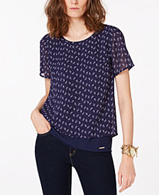 MICHAEL Michael Kors Petite Printed Short-Sleeve Top