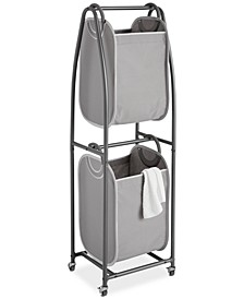 2-Tier Rolling Vertical Laundry Sorter with Hamper Totes & EVERFRESH® Odor Control