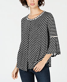 John Paul Richard Petite Lattice-Trim Split-Overlay Top