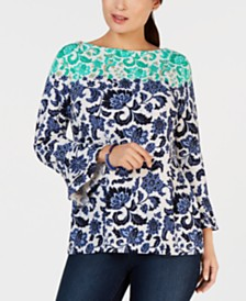 Charter Club Petite Wallpaper-Print Bell-Sleeve Top, Created for Macy's