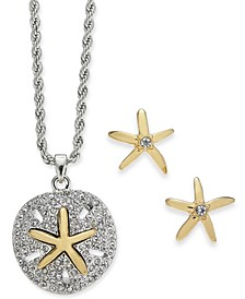 Two-Tone Sand Dollar & Starfish Pendant Necklace & Stud Earring Set, Created for Macy's