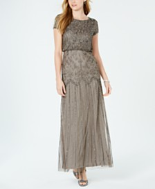 Adrianna Papell Petite Beaded Blouson Gown