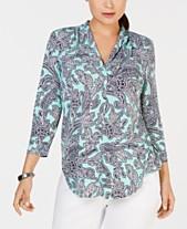 6b3004abcdf Charter Club Pleated V-Neck Paisley Knit Shirt