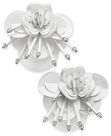 kate spade new york Sequin & Bead Leather Flower Statement Earrings